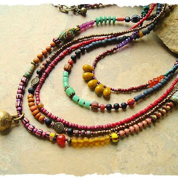 Boho Colorful Beaded Necklace, Handmade Bohemian Jewelry, Tribal Hippie Gypsy Style, Boho Style Me, Kaye Kraus