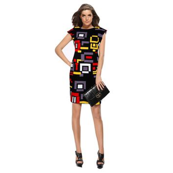 JECKSION 2016 Newest  Sexy Women Slim Summer Geometric Printed Short Sleeve Dress summer sundresses