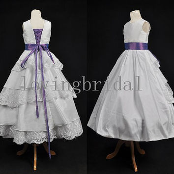 2014 White Tiered Lace Satin Flower Girl Dress Flower Girl Toddler Wedding Special Occasion pageant dress