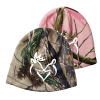 White Snuggling Buck & Doe Realtree Camo Beanie