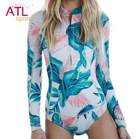 One-piece Suit Long Sleeve Swimwear Female 2016 One Piece Swimsuit Women Bathing Suit Surf Rash Guard Beach Clothes Rashguard