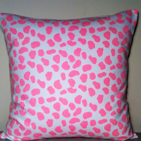 """2 Handmade Pillow Covers - Bright Pink Cow print 100% Cotton - READY TO SHIP - 16"""" x 16"""""""