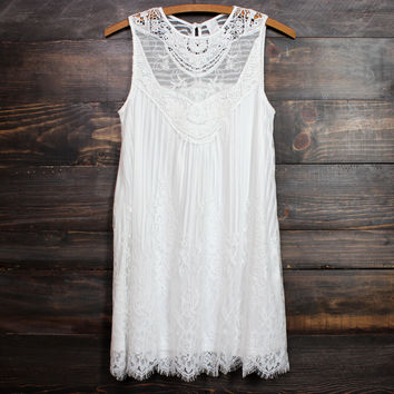 gauzy bohemian white lace dress