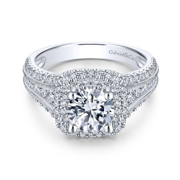 14K White Gold 2.00cttw Cushion Shaped Double Halo With Triple Diamond Shank Round Diamond Engagement Ring