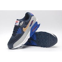 NIKE AIR MAX 90 fashion ladies men running sports shoes sneakers F-PS-XSDZBSH Dark blue + gray gold check