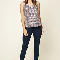 Abstract Print V-Neck Top
