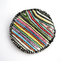 Embroidered geometric brooch, stripes jewelry, fabric textile jewelry, shabby chic brooch