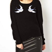 Black Swallow Patch Long Sleeve Knit Jumper