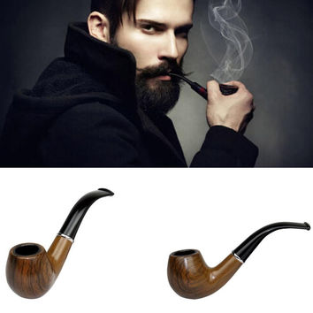 2016 New Retro Vintage Wooden Enchase Smoking Pipe Tobacco Cigarettes Cigar Pipes Gift Durable Free Shipping