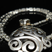 Filigree Scroll Necklace Sterling Silver Bar Bead Chain