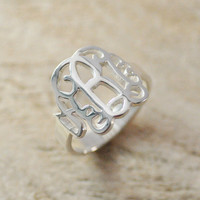 Sterling Silver Monogram Ring by Handmadenamenecklace on Etsy