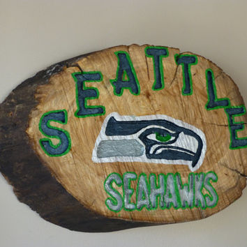 Seattle Seahawks Sign, made from a wood log slice, hand painted, hand carved, rustic