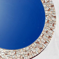 Round Mosaic Mirror -- Metallic Silver, Gold, Bronze -- Made to Order