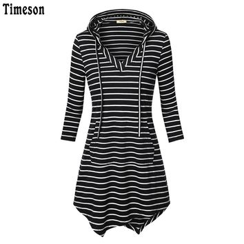 Autumn Women Sleeve Knitted Striped Tunic Top with Hooded Irregular Hem Kangaroo T-shirts For Women Casual Top Female