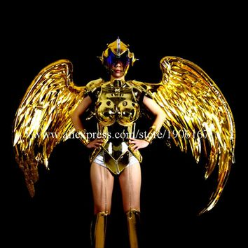 Fashion Gold Plated Catwalk Shows Cosplay Costumes Wings Suit