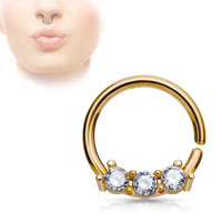 Rose Gold Septum Hoop Rings with Three CZ Set Bar 316L Surgical Steel bendable 18ga Daith Helix