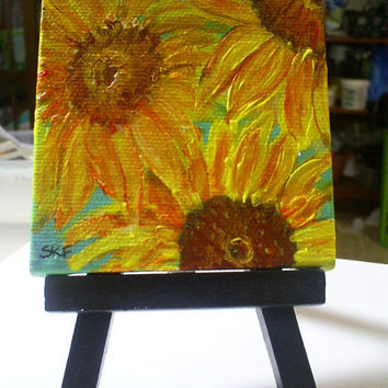 Sunflowers on Aqua Original  mini painting on by SharonFosterArt
