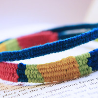 Hand Woven Brightly Colored Thread Wrap Friendship Bangle Set