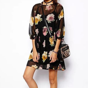 Black Floral Print Sleeve Dress With Black Spaghetti Straps Chiffon Top