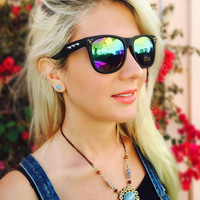 Rainbow Multicolored Spiked Black Frame Wayfarer Perfect Gift for Bestfriend Girlfriend Boyfriend Bridesmaid Bride Groom and even Travel!