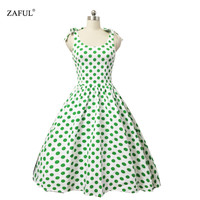 4XL Women Dress Summer Sleeveless Cut Out O Neck Vintage Dot 1950s 60s Big Swing Party Casual Retro Dress Plus Size