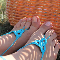 Crochet Barefoot Sandals,  Foot jewelry, Yoga , Bellydance, Steampunk, Beach Pool,Anklet,  jewelry for the foot, Turquoise