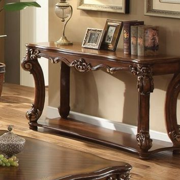 Vendome collection cherry finish wood carved accents sofa table