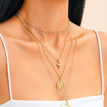 Moon & Coin Charm Layered Chain Necklace 2pcs