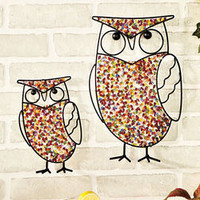 Set Of 2 Owl Beaded Garden Wall Hangers 1 Large & 1 Small Fence Shed Tree Decor
