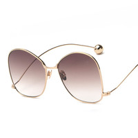 Fashion  Sunglasses Women Brand Designer Round Metal Frame Gradient Lens