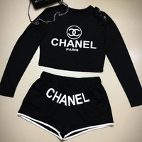 Chanel Fashion Cami Crop Long Sleeve Shirt Top Tee Pullover Shorts Set Two-Piece Sportswear