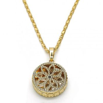 Gold Layered 04.63.1354.18 Fancy Necklace, Flower Design, with White Cubic Zirconia, Diamond Cutting Finish, Golden Tone