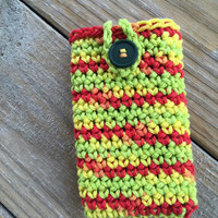Crochet iPhone Phone Case, Tropical Colored Phone Case, Smartphone Cover, cell phone case, cell phone cover, ipod case, buttoned case