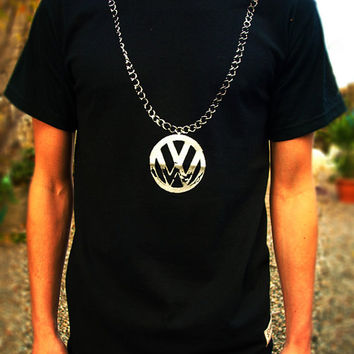 VW CHAIN T SHIRT black top mens boys hip hop clothing 90s 80s bug bus camper van beastie campervan beetle golf screen printed rap retro rare
