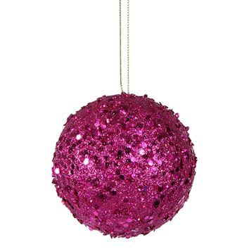 """Fancy Fuchsia Pink Holographic Glitter Drenched Christmas Ball Ornament 4"""""""