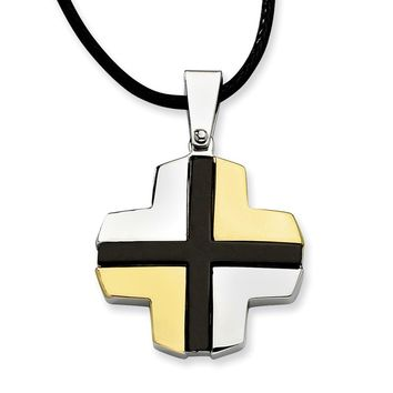Stainless Steel Polished w/ Black & Gold-plating Cross Pendant 20in Necklac
