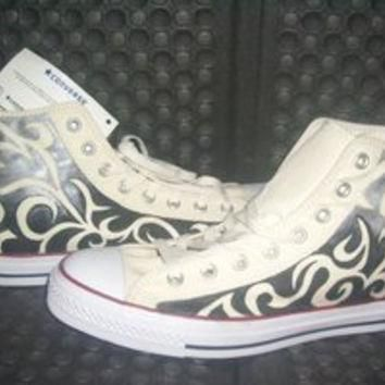 Hand Painted Converse Sneakers Stylish Black Tribal