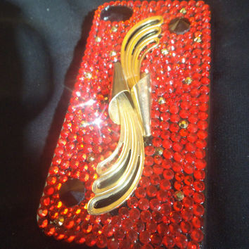 Art Deco style iPhone 4 / 4S Case red and gold Swarovski and Czech crystals. Bling decoden deco den Free Screen protector