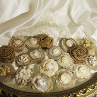"20 Handmade Burlap Rose Flowers for weddings, bouquet making, wedding decor, scrapbooking, gifts, crafts ""READY TO SHIP"""