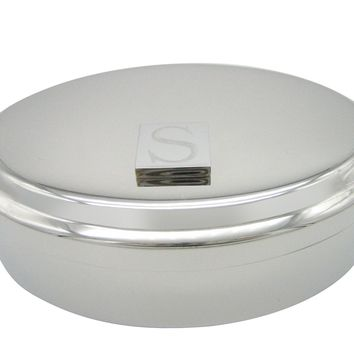 Letter S Etched Monogram Pendant Oval Trinket Jewelry Box