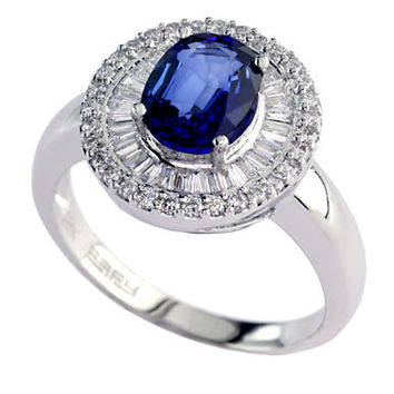 Effy Velvet Bleu 14Kt. White Gold Ceylon Sapphire and Diamond Ring