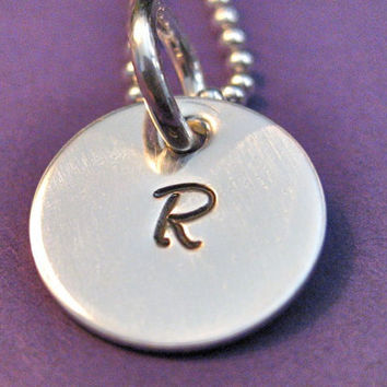 Handstamped Initial Necklace in Sterling by thirtyoneshekels