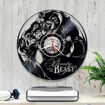 BEAUTY AND THE BEAST 6 VINYL RECORD WALL CLOCK UNIQUE DESIGN