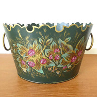 Large green toleware cachepot with hand painted raspberries