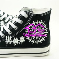 Kuroshitsuji Contract Symbol Shoes, Custom Painting Canvas Sneakers with Black Butler