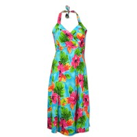 hoopla blue hawaiian napali halter dress