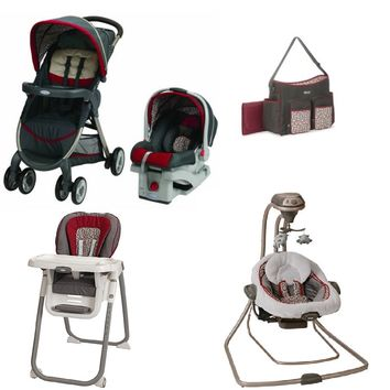 Graco Red Baby Gear Bundle, Stroller Travel System, High Chair, Swing, and Diaper Bag