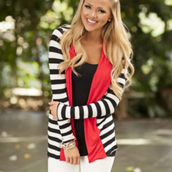 Hint of Red Striped Cardigan