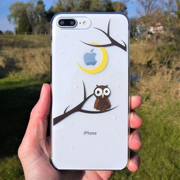 MADE IN JAPAN Hard Shell Clear Case for iPhone 8/8 Plus - Cute Owl