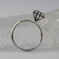Affordable Diamond Ring Fun Sterling silver by HeartCoreDesign